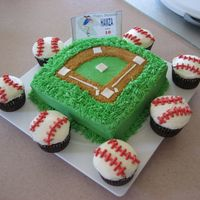 "Baseball Birthday   For my nephew's birthday. Chocolate cake with buttercream. The center is 8"" square cake with baseball cupcakes."