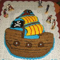 8Th B-Day I made this cake for 1 of my Grandson's birthday. It is the new wilton pirate ship pan.