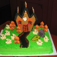 Scouts Halloween Party This is a sheetcake with a ginger bread house. I made this for my 3 Grandsons' Boy Scout Party. All the kids really likes it.
