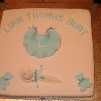 Liam Christening This is a photo I done for my friends son's christening.... My first attempt at a christening cake. Everything was made by me.