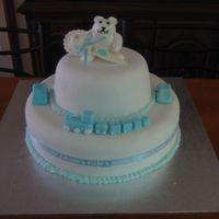 Baby Shower two teir, boy baby shower cake. MY first attempt at somthing two teir and I think I did well. I did it for my friends, baby shower..