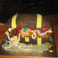 Treasure Chest all edible-ringlollie pop, jelly skeletion, lollie necklaces, jelly eyeball, choc coins, gian lolly python, sugar sand