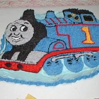 Thomas The Train Birthday Cake   This is a close up of Thomas the train made using the Thomas pan for my son's birthday.