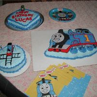 Thomas The Train Birthday Cakes   We made these cakes for my son's birthday. The extras were to feed all the guests.