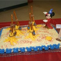Mickey Mouse Sorcerer Birthday Cake  I made this cake for my son's birthday after getting great ideas for the forum here! Thanks! The brooms are made from fondant and...