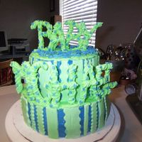 Blue/green Baby Shower Cake i did this for my cousins baby shower. i was really pleased with the letters, but not with the rest of it. i didnt care for the colors, but...