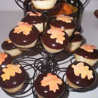 Fall Cupcakes i made these for thanksgiving. caramel vanilla cupcakes with chocolate ganache frosting. yum! the leaves are fondant.