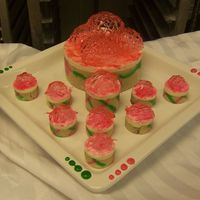 Mini Mousse Cakes these were for part of my final at school. very fun to make! the decoraion on top is sugar, and the sides of the cakes are almost biscuit...