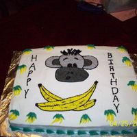 "Monkey Head And Cross Banana's-""jolly Monkey"" My Nephew wanted a monkey head and banana's like the Jolly Roger skull and crossbones. This is the FIRST cake picture that I have done..."