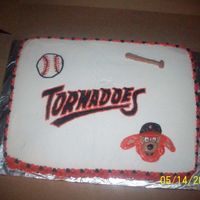 "Worcester Tornadoes I was asked to make a cake for game day at the park. I used their Logo and ""Twister"" the mascot. They loved it. Chocolate cake..."