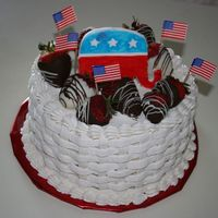 Republican White Cake Here's the white version of the chocolate cake I just posted done for a fund raiser for a Republican candidate running for JP in our...