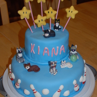 Cake For A 7 Year Old My daughter wanted a cake that had cats, Lumas (stars from Mario Super Galaxy) and bowling. This is what I came up with. Bowling pins,...