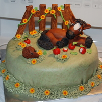 Horse Cake  All figures are fondant. Cake is covered with MMF. I like the darker horse better than the one in the inspiriation cake by Maisie Parrish,...