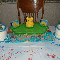 "Pokemon Birthday Party This is a combined birthday party...our boys turned 4 and 5. CCC in the middle, with mini bear pan as pikachu. And, 6"" rounds on each..."