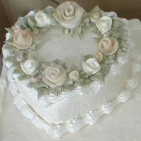 Wedding Cake fondant roses were hand made and painted to match bouquet