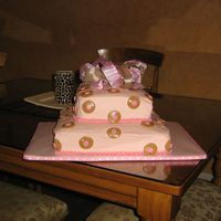 Polka Dot Baby Shower Cake  I took the inspiration from the invitation as well a a variety of polka dot cakes I've seen posted on Cake Central. Its a vanilla cake...