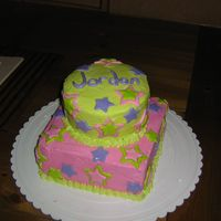 Star Cake  This cake was for a nine year old girl's birthday party. The frosting is raspberry flavored butter cream and the stars are banana...