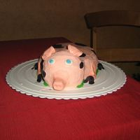Here Piggy Piggy!  I made this for an 11 year old girl's birthday party, she loves pot-bellied pigs and had actually raised a few. She wanted this cake...