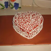 Pretty Heart  I made this for a friend's Bunco Friday, its a chocolate sour cream cake, with chocolate butter cream frosting with a splash of...