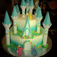 Disney Princess Castle   all buttercream with fondant accents and airbrushed sides of castle....turrets are from the wilton kit.