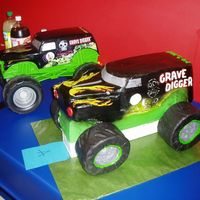 Grave Digger  This was my son's cake for his 5th birthday....the one in fron is the cake, the one in back is his truck...I did a scale model of it...