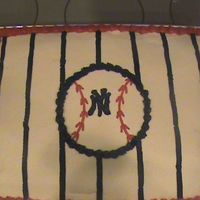 New York Yankees Made this for my nephews 10th bday. He is a fan. Just a simple cake with buttercream. Stripes and Symbol.