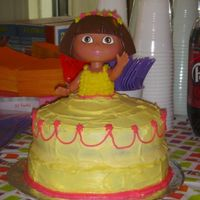 Princess Dora  I made this cake for my nieces 2nd birthday, I borrowed her Dora swimming doll. I just used regular betty crocker frosting with food...