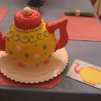"Birthday Teapot Cake I made this cake for a ""Tea for Two"" party for a two-year old's birthday. I tried to match the colors and style to the..."