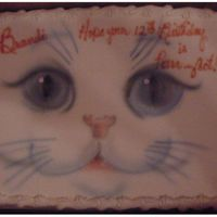 "Airbrush Kitten Cake This 9""x13"" kitten cake was for a little girl who loves cats....the design is from a T-shirt she is getting for her birthday. The..."