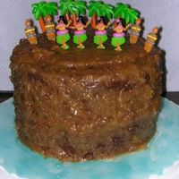 Luau Cake... This was for my mom's b-day. She didn't want fondant or buttercream...she wanted a double decker German Chocolate cake with the...