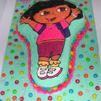 Dora The Explorer Birthday cake for my cousin's 4 year old. I didn't know the pants were supposed to be red, but other than that I think it turned...
