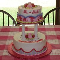 It's A Girl! I did this cake for my sister's baby shower. My sister was tired of seeing only pastel colors for baby showers, so she requested a...