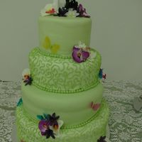"Green Butterfly Cake This cake is a 6"", 8"", 10"", and 12"" cake with vanilla and strawberry swirled cake and strawberry flavored buttercream..."