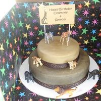 Safari Birthday Cake Top tier is white cake, bottom tier is chocolate, BC frosting with ribbon trim.