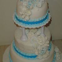 3 Tier Wedding Cake 3 tier wedding cake with white fondant with blue cake sparkles rolled into fondant and a 1 1/2 thich blue ribbon of fondant to drape the...