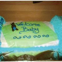 Baby_Cake.jpg A quarter sheet cake yellow and one ten inch round cut in half on both ends of sheet cake to create a beautiful baby bed