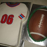 Football And Jersey My brother and his MIL have close b-days. The best theme for their shared party was football. I used a sheet cake for the jersey and...