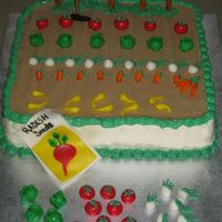 Garden Cake My grandfather has always had a beautiful garden. This was for his 88th b-day. He loved it! Veggies are fondant. Fence posts are pretzel...