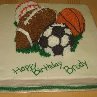 Sports Theme Cake Birthday boy was into all kinds of balls. Used small ball pans for round balls and hand carved the football from a 4 in. square pan....