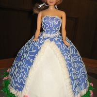 My 1St Doll Cake All buttercream. Will try part fondant next time for dress bodice.