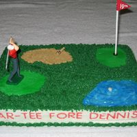 Golf Cake CC inspired cake. Water hazard is piping gel. Sand is graham crackers.