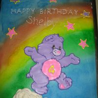 "Carebear Cake Little girl was very specific on what she wanted - ""pink and purple carebear with a number 4"" - for her birthday. Carebear was..."