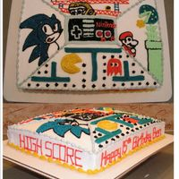 """old"" Nintendo Cake This one was a challenge! The b-day boy wanted screen shots of his favorate games. (4 of them) and wanted the Nintendo hand held paddle. (I..."