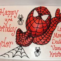 Spiderman Cake This was a 9X13 that I cut to shape. Got the idea from CC. The extended arm is BC icing pipe right onto the board. I put this all onto a 1/...