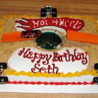 "Hot Wheels Birthday Cake This cake is all white, w/BC icining & crushed graham crackers for ""dirt"". My directions was only Hot Wheels theme no other..."