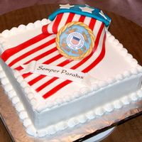 "Flag Cake For Coast Guard Day Picnic two 11x15 cakes stacked, with a 6"" round under the flag to give it some depth. Fondant flag and stars painted with my airbrush. The..."
