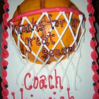 Basketball Cake   sheet cake with half a ball pan to get the 3D look of the Basketball & hoopiced in BC Decorated in the teams colors