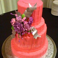 "Pleated Fondant Wedding Cake Hot pink pleated fondant, gumpaste flowers, fondant ribbons painted silver. 3-layer 6"", 1-layer 8"", 3-layer 10"", 1 layer 12&..."