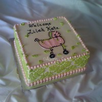 Damask Baby Shower Cake   All bc, stenciled sides, baby carriage image idea came from the invitation.