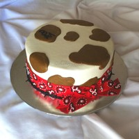"Western Cake  All buttercream, fondant bandana trim, buttercream ""barbed wire"" border and brand of the recipients' initials. 8"" round..."
